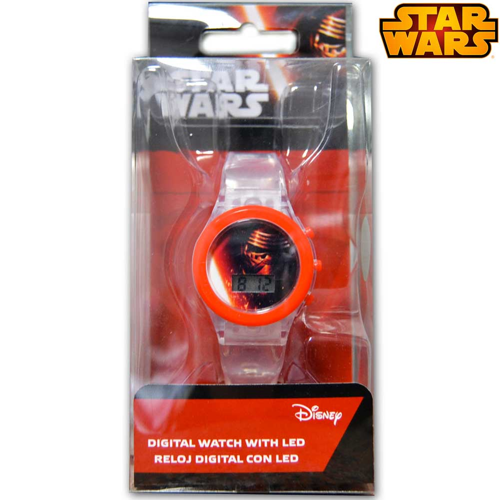 Orologio digitale da polso star wars con luce led in scatola regalo disney kids.