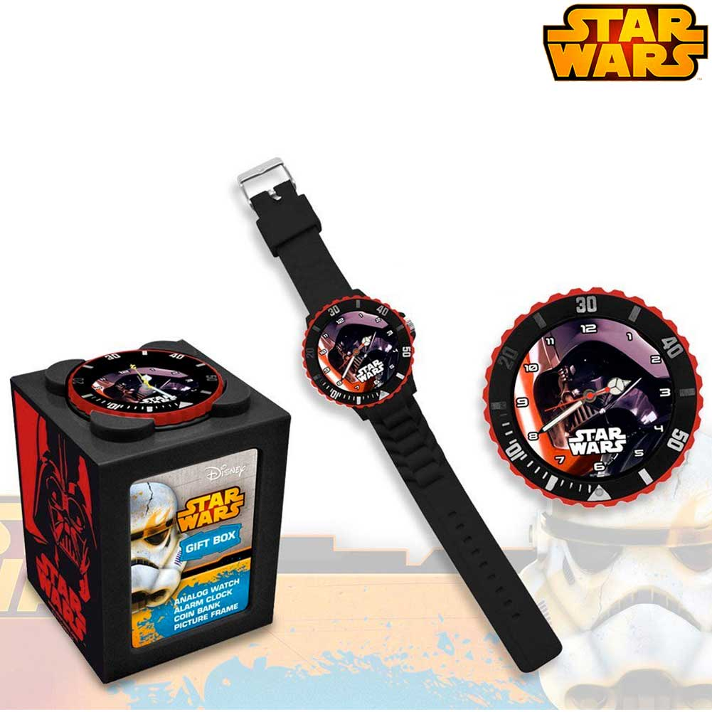Orologio polso analogico star wars darth vader 4in1 salvadanaio portafoto kids.