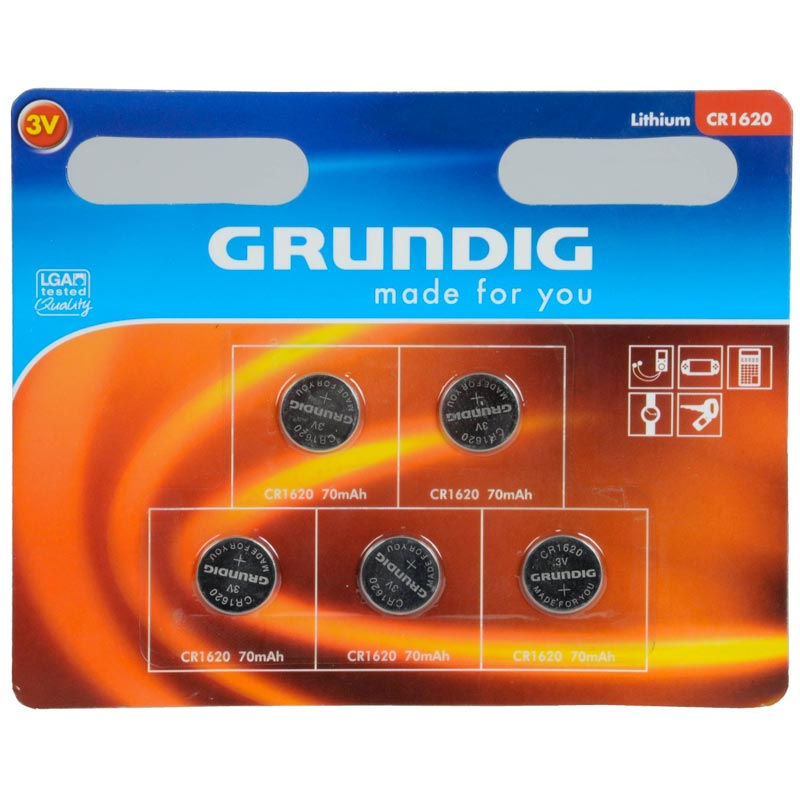 Pile a bottone set 5 pezzi a litio cr1620 grundig.