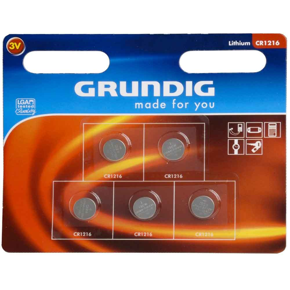 Pile a bottone set 5 pezzi batterie a litio cr1216 grundig.