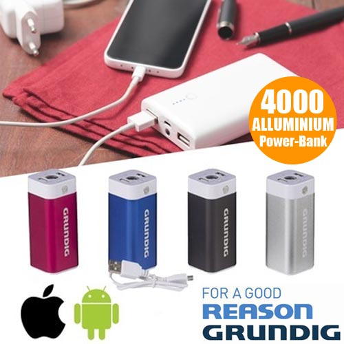 Power Bank Caricabatteria Grundig 4000 mAh Smartphone Apple Android Batteria.