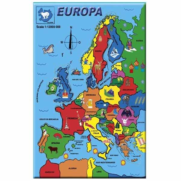 Puzzle in legno cartina geografica europa colorata gioco for Cartina europa da colorare