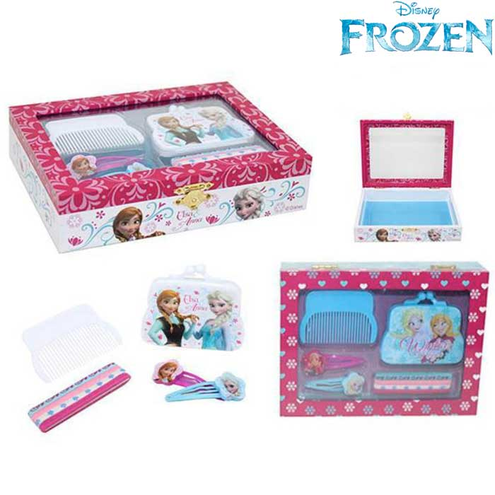 Scatola Con Set Accessori Per Capelli Frozen Elsa Anna Bambine Disney.