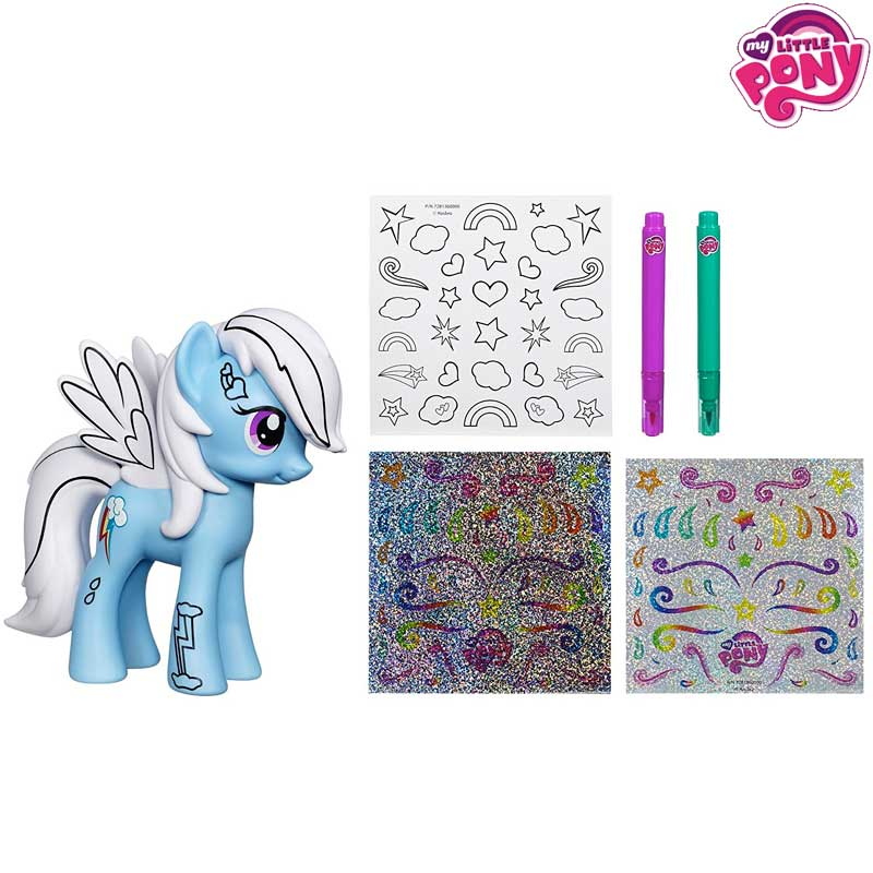 Set Decorazioni My Little Pony Con Pennarelli e Adesivi + 1 Mini Pony Hasbro.