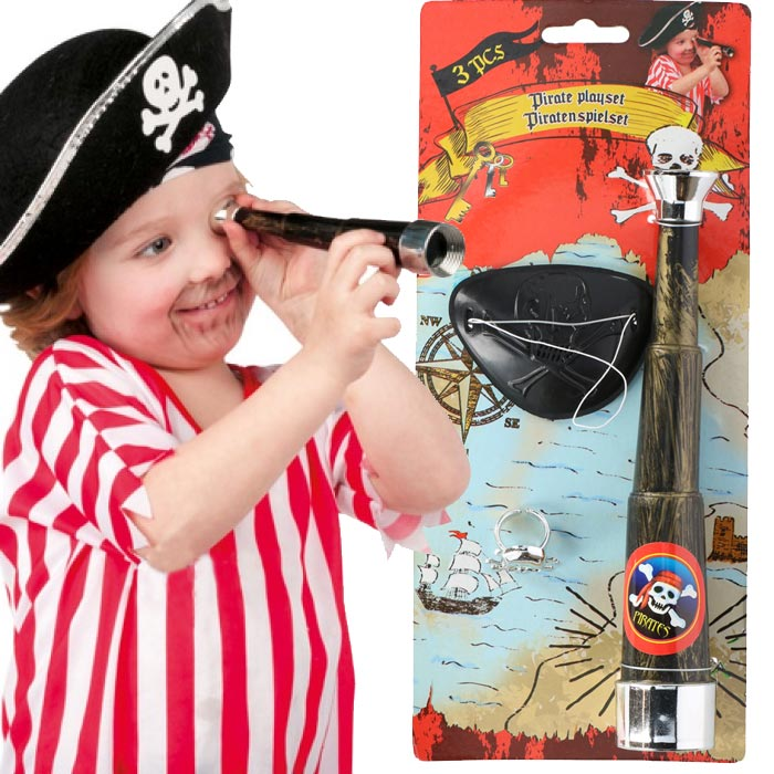Set Pirata Kit 3 PZ Accessori Pirati Cannocchiale Anello Benda Bambini Eddy Toys.