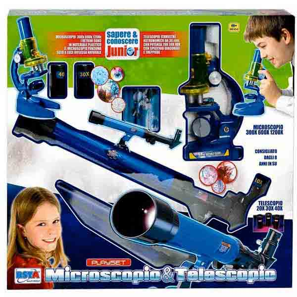 Set Scienza 2 in 1 Playset Microscopio 300x 600x 1200x e Telescopio 20X 30X 40X.