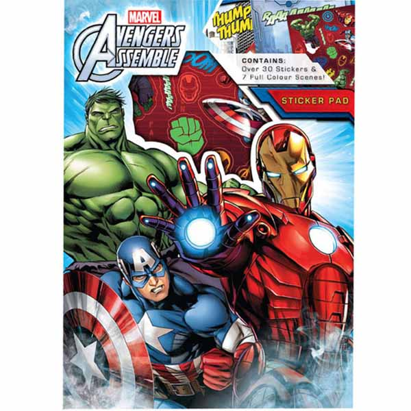 Set Stickers Marvel Avengers Adesivi I Vendicatori 30 Stickers 7 Scene.