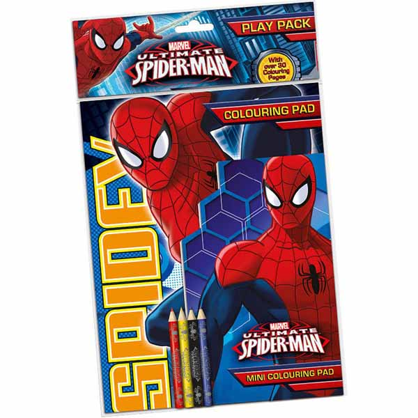 Spiderman Play Pack Set Immagini Varie Misure Da Colorare e 4 Matite Incluse .