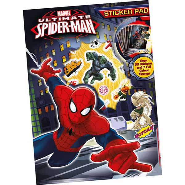 Stickers Set 30 Adesivi Spiderman Uomo Ragno 7 Scene Colorate Sticker Pad.