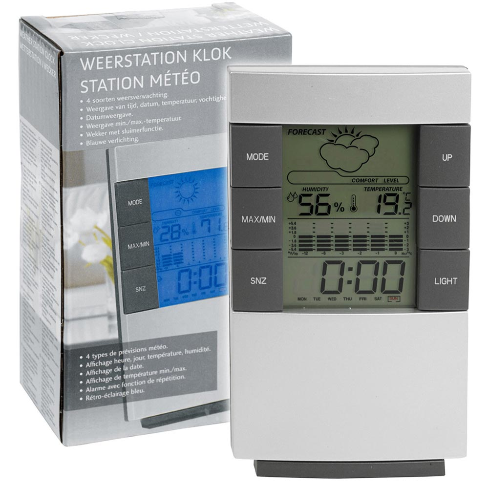 STAZIONE METEO WIRELESS LUMINOSO SENZA FILI CON OROLOGIO TEMPERATURA METEO DATA.