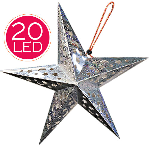 Stella Decorazione Natale Luminosa Batterie 20 LED Superfice Olografica 55x55cm.