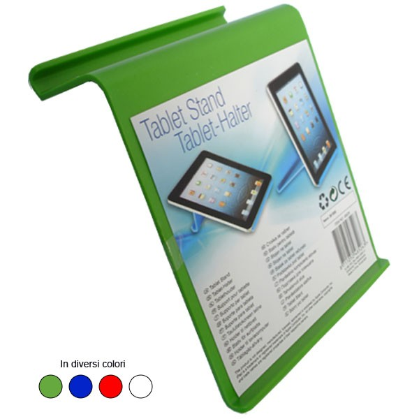 Supporto in plastica pvc per tablet e ipad orientabile in diversi colori.