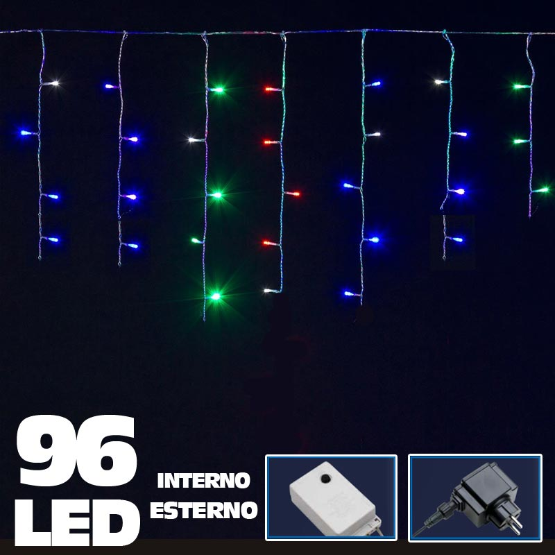 Tenda luminosa natalizia 96 led luce multicolor 3 metri esterno luci cavo 5 mt.
