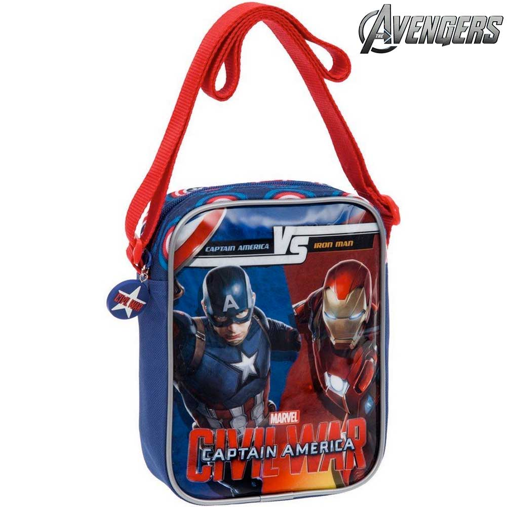 Tracolla Per Bambini Capitan Ameriva VS Iron Man Civil War Poliestere Marvel.