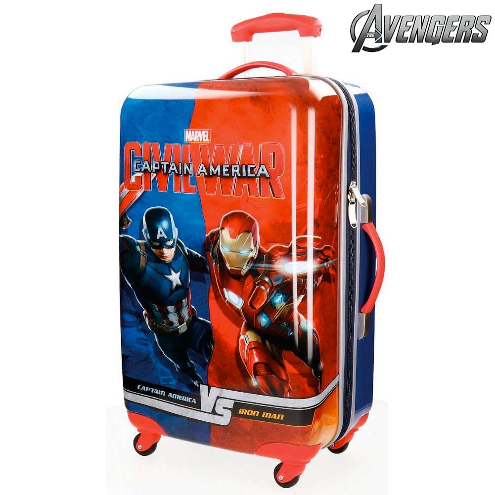 Trolley Rigido 67 cm Capitan America VS Iron Man 4 Ruote ABS Bagaglio a Mano.