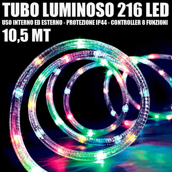 Tubo Luminoso 216 LED MULTICOLOR 10,5MT 3VIE Uso Interno/Esterno + Controller.