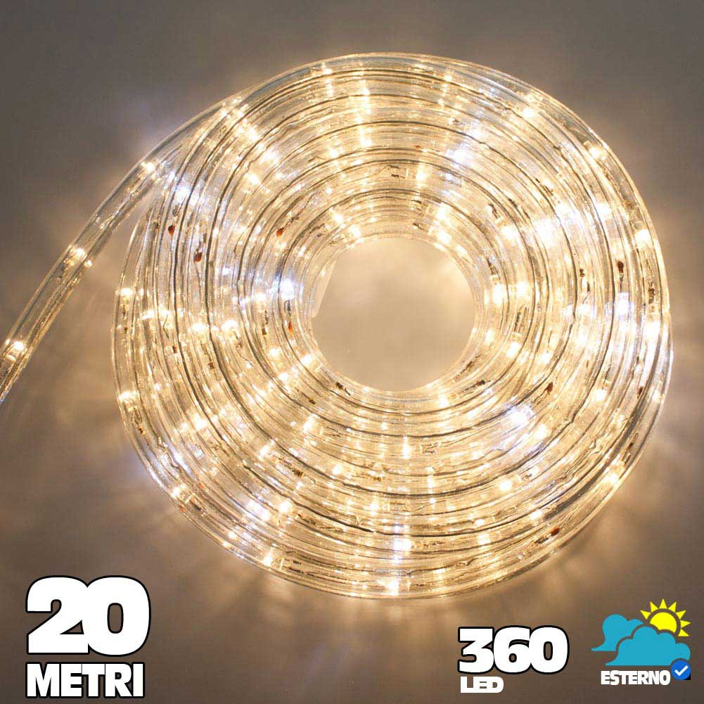 Tubo luminoso a led 360 luci bianco caldo 20 metri per uso for Luci a tubo led