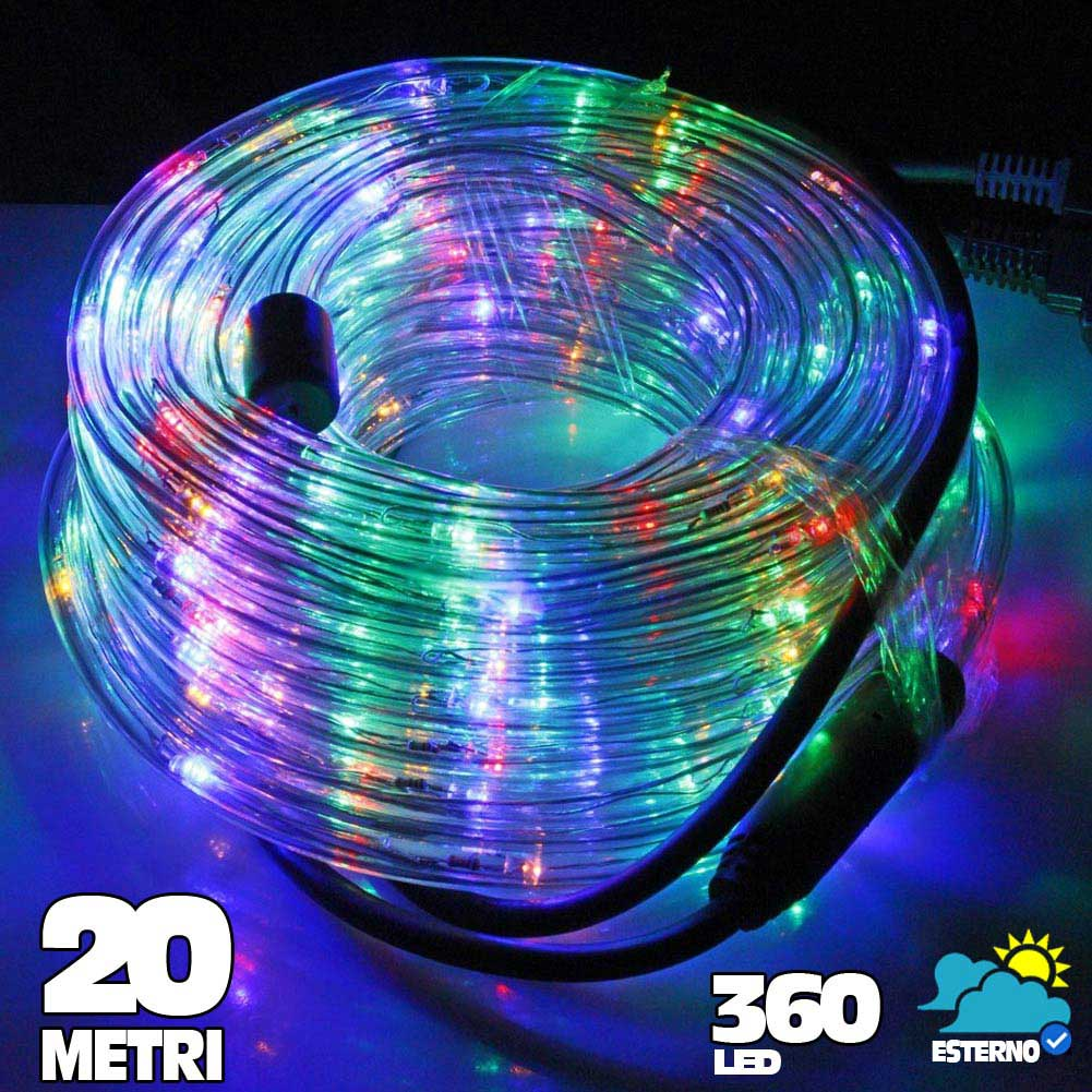 Tubo luminoso a led 360 luci multicolor 20 metri per uso for Luci a tubo led