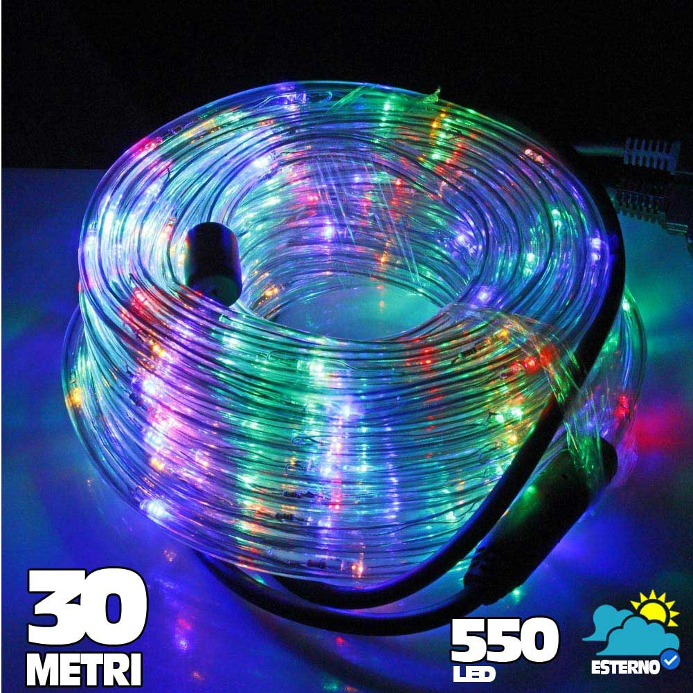 Tubo luminoso a led 550 luci multicolor 30 metri per uso - Luci led per esterno ...