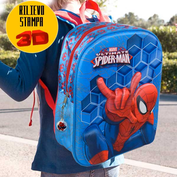 Zaino Scuola Asilo Elementare Zainetto 32x10x25 Marvel The Ultimate Spiderman 3D.