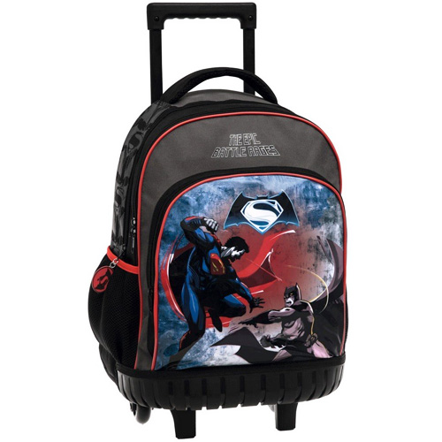 764b9f844a Zaino Trolley 2 Ruote Scuola Elementare e Media 32 x 43 x 23 Batman VS  Superman Bakaji Prezzi in offerta stock
