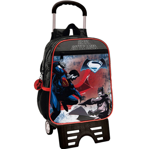 Zaino Trolley 28 Carrello Zainetto Carrellino Scuola Asilo Batman vs Superman.